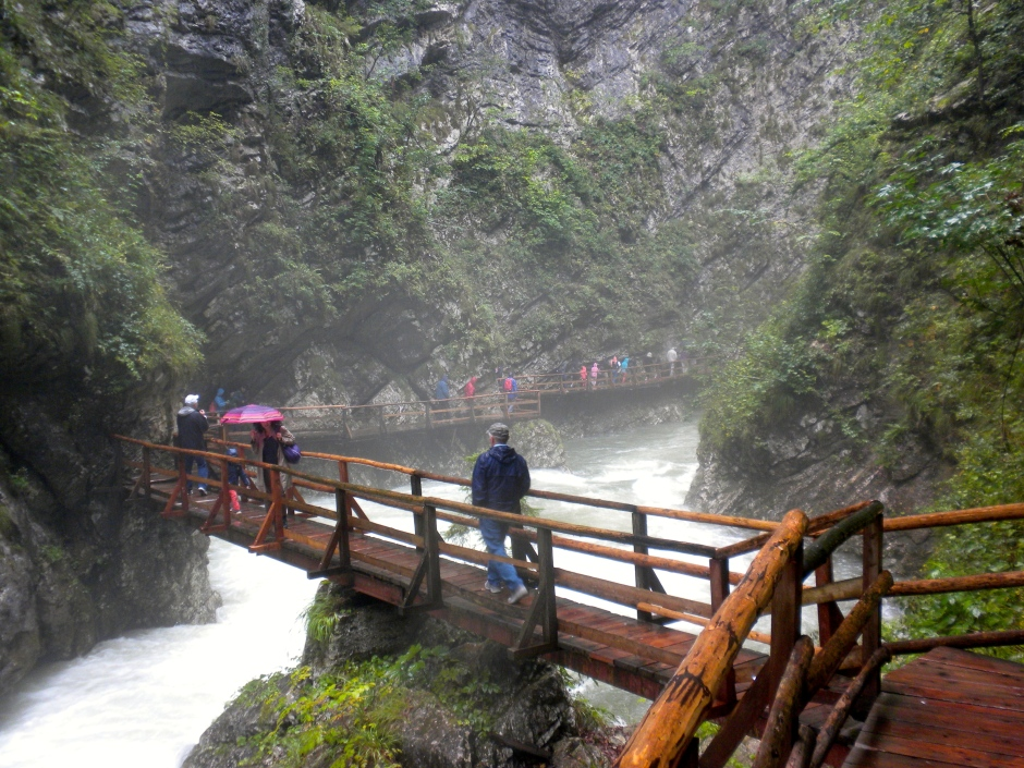 The walkways cross back and forth over the gorge