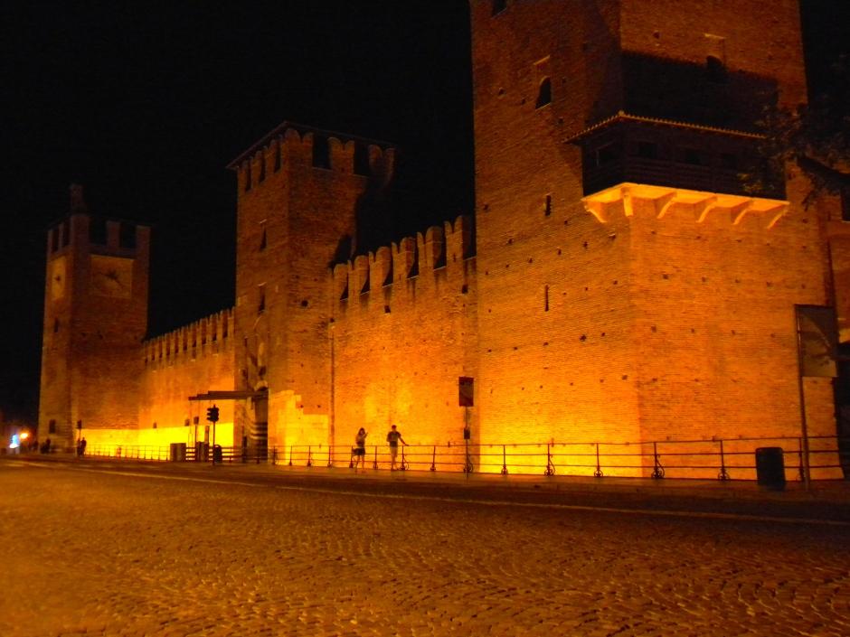 Castle walls at night