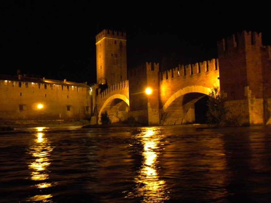 The opposite side of the bridge, at night