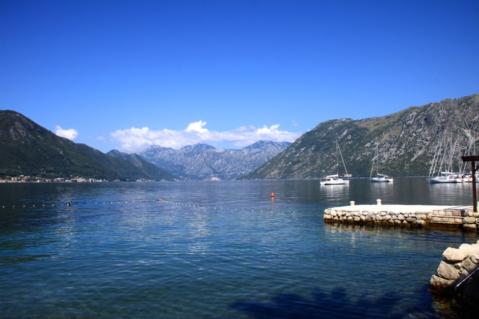 The Bay of Kotor, as seen from the dock in front of my hotel