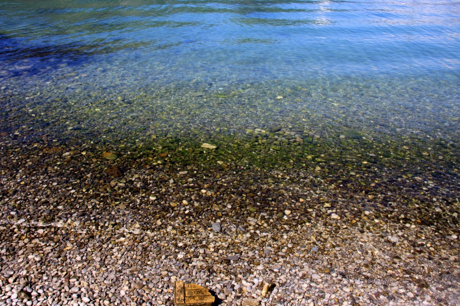 The water in the bay is very clear