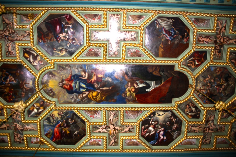 Part of the pointed ceiling inside the church