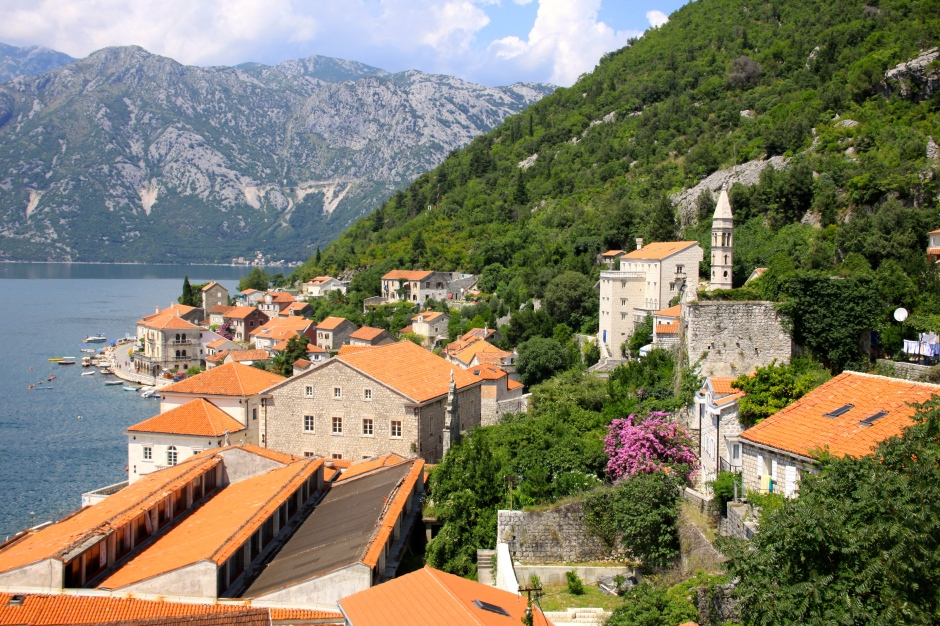 View of Perast from the bell tower