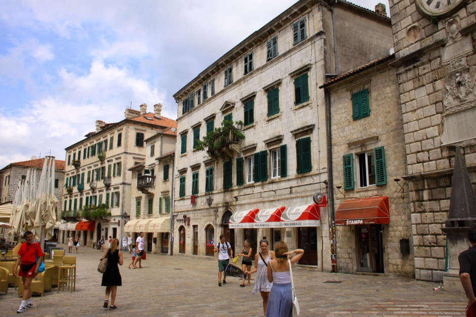 Once inside the gates, the old town of Kotor becomes visible with its shops and restaurants