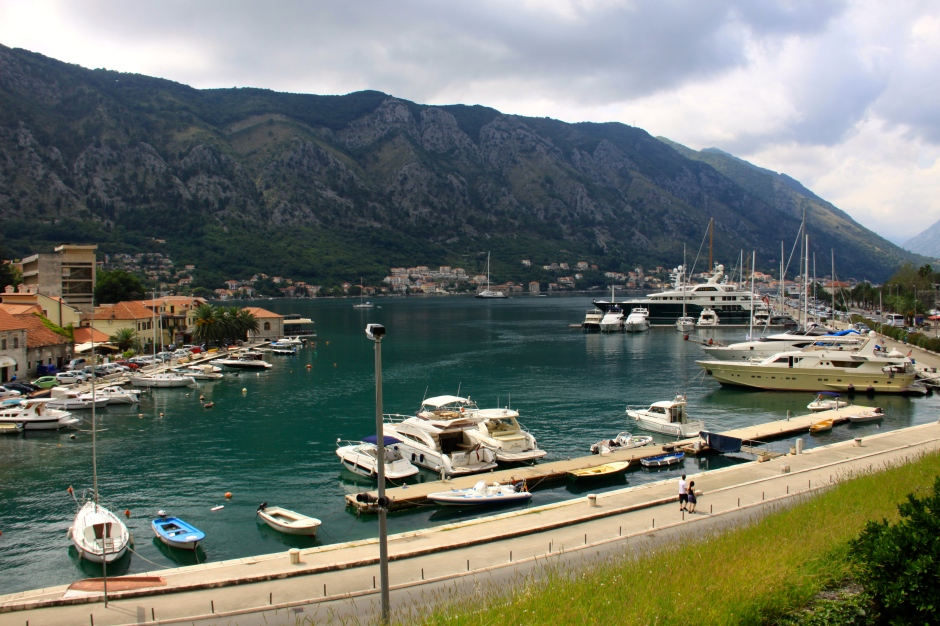 A view of Kotor Marina from the old town wall