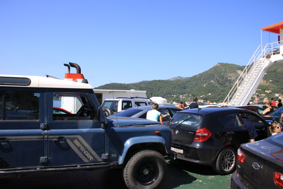 On the ferry across the Gulf of Kotor