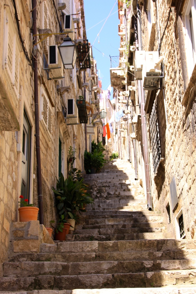There are many flights of steps leading to the higher levels in the town