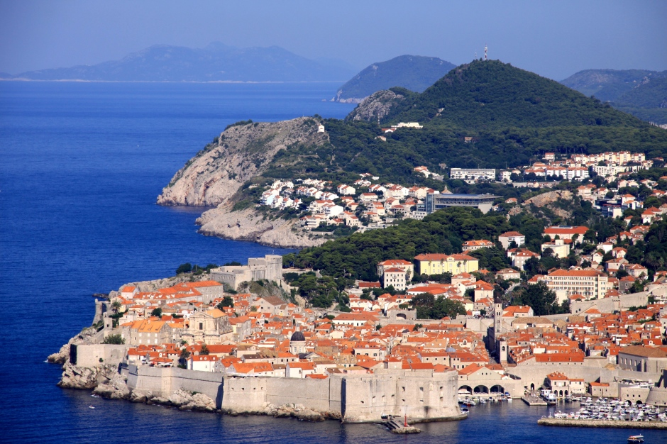 A view of the old cit of Dubrovnik taken from the road out of town