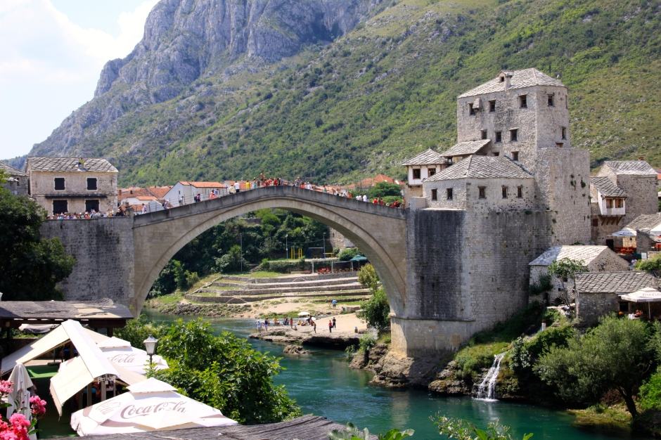 Stari Most - Old Bridge - in Mostar. Viewed from the town side