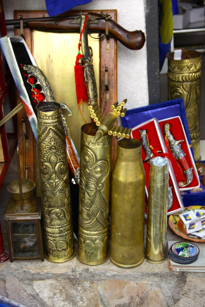 There is an abundance of brass shell casings left over from the war, so they are turned into art objects