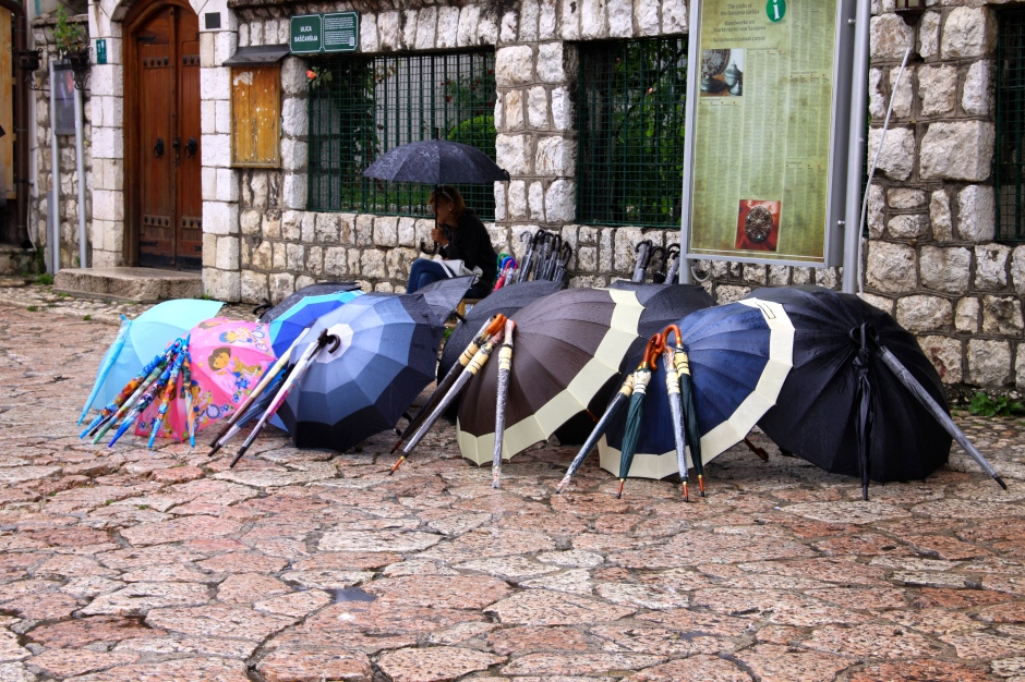 Umbrellas for sale in the old town of Sarajevo