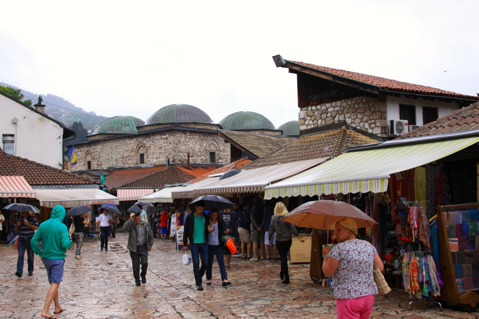 A rainy day in the old town shopping area