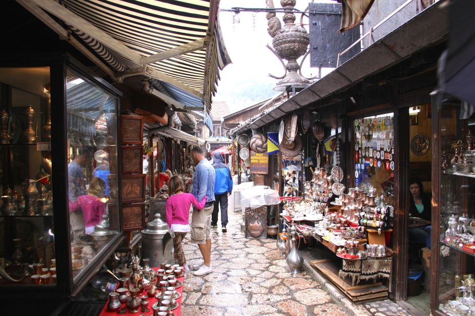 All of the shops in this lane sell local metalwork items