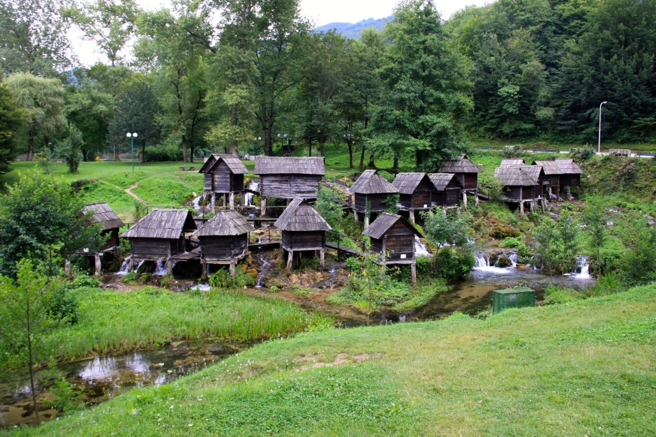 The entire complex of wooden water mills on the Pliva River