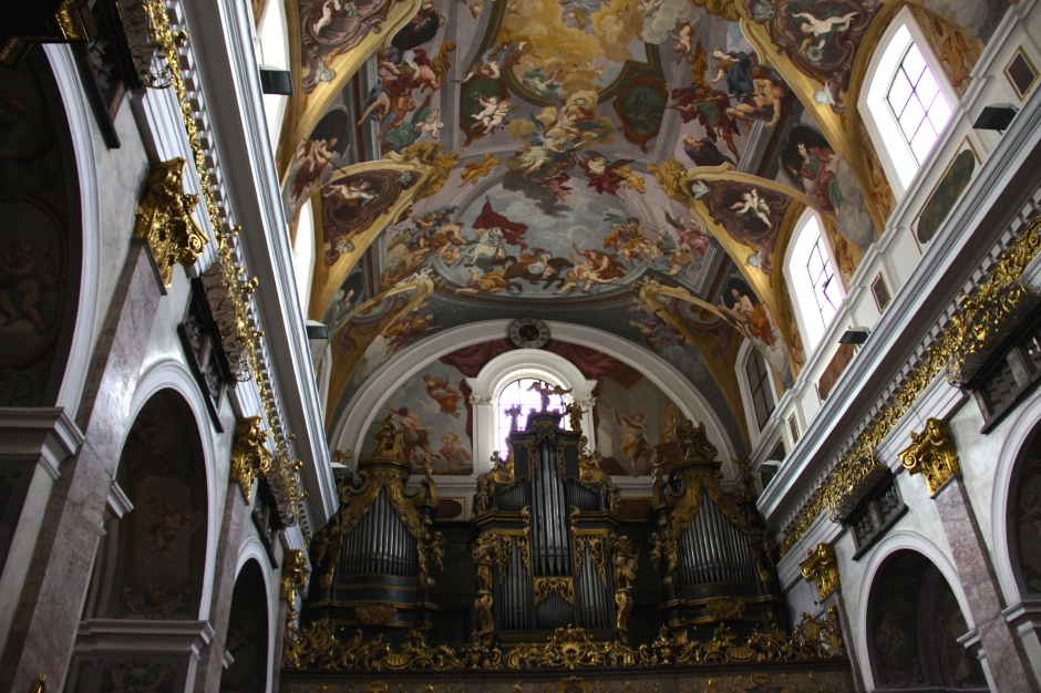 Organ and painted roof inside Church of St. Nicholas Cathedral