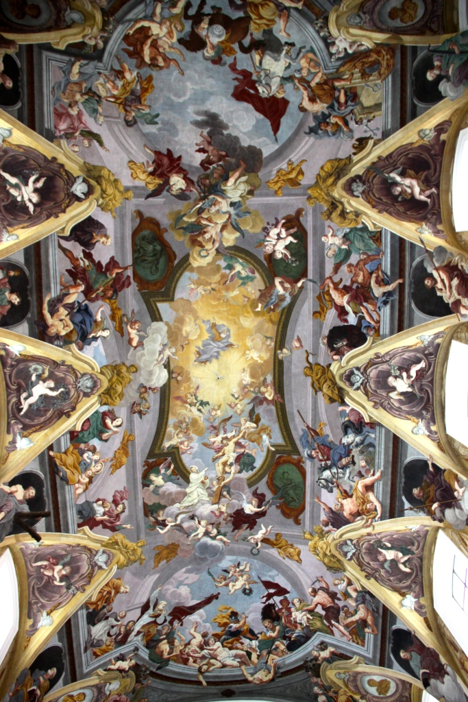 The painted ceiling inside the Church of St. Nicholas Cathedral