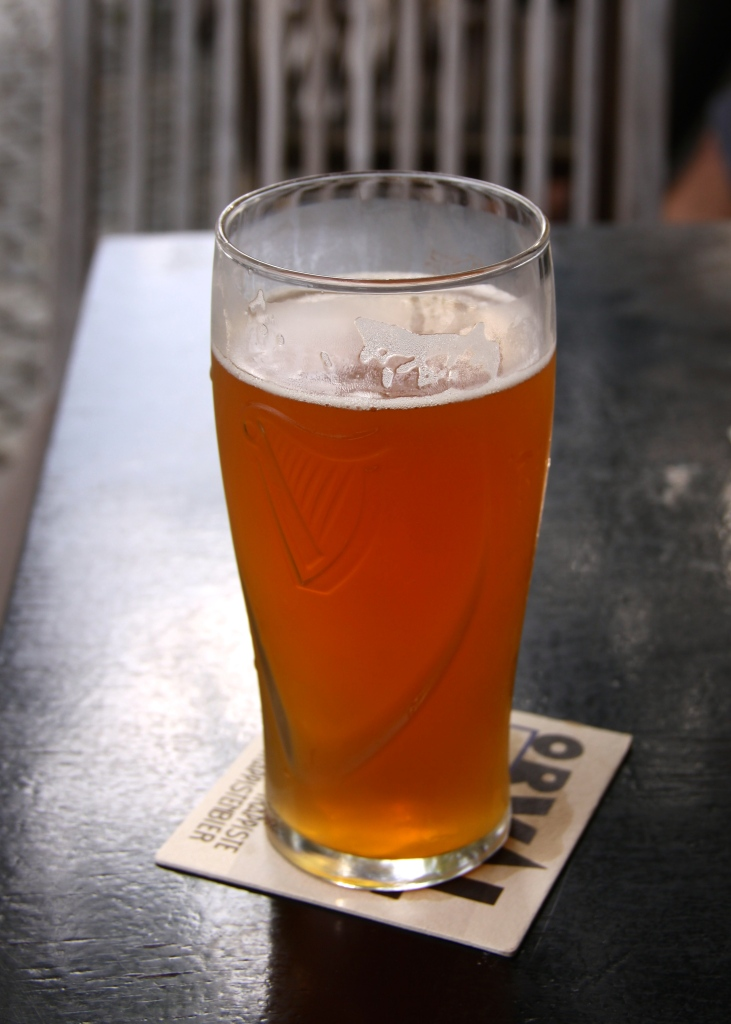 A half-litre of Human Fish pale ale at a riverside pub during happy hour!