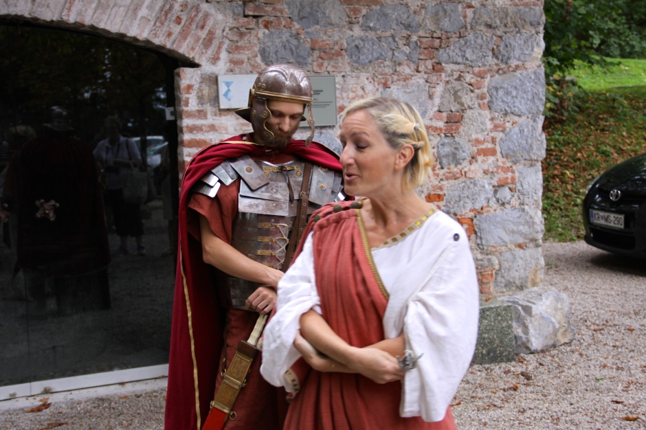 Actors narrate part of the castle's history from the perspective of a Roman soldier and a Roman priestess