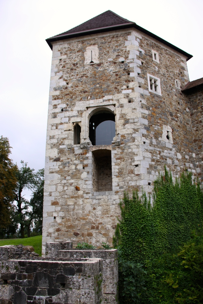 The opening that is now backed by glass was the original entrance into the castle. It was accessed by a bridge over the double moat and had a drawbridge