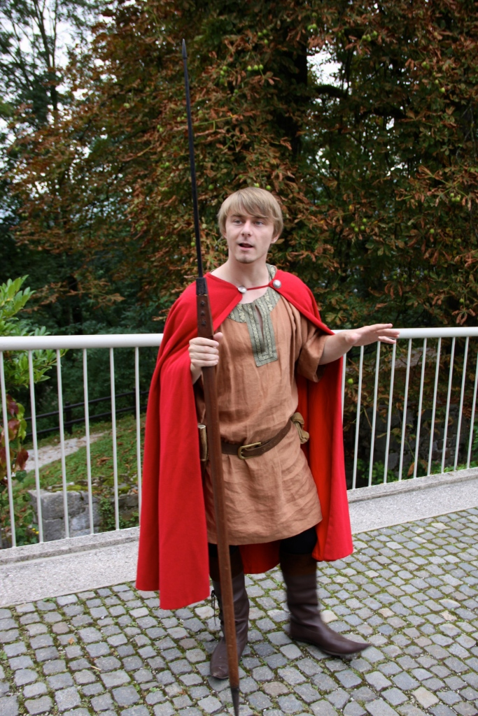 An actor portrays St. George and explains how he came to slay the dragon. Until this visit I had no idea that the story of George and the Dragon was reported to have occurred on the site of the Ljubljana Castle.