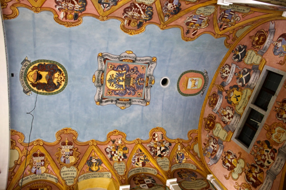 Unusually for a church, the paintings on the ceiling are of the coats of arms of the landlords of the region, rather than Christian figures.