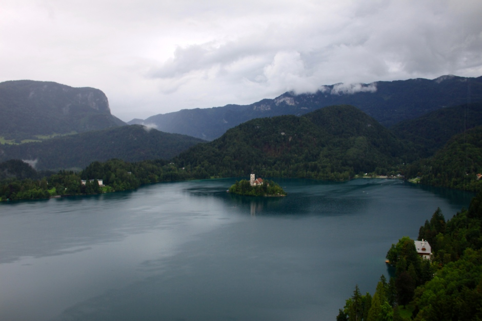 A view of Bled Lake and the surrounding hills and mountains from the castle