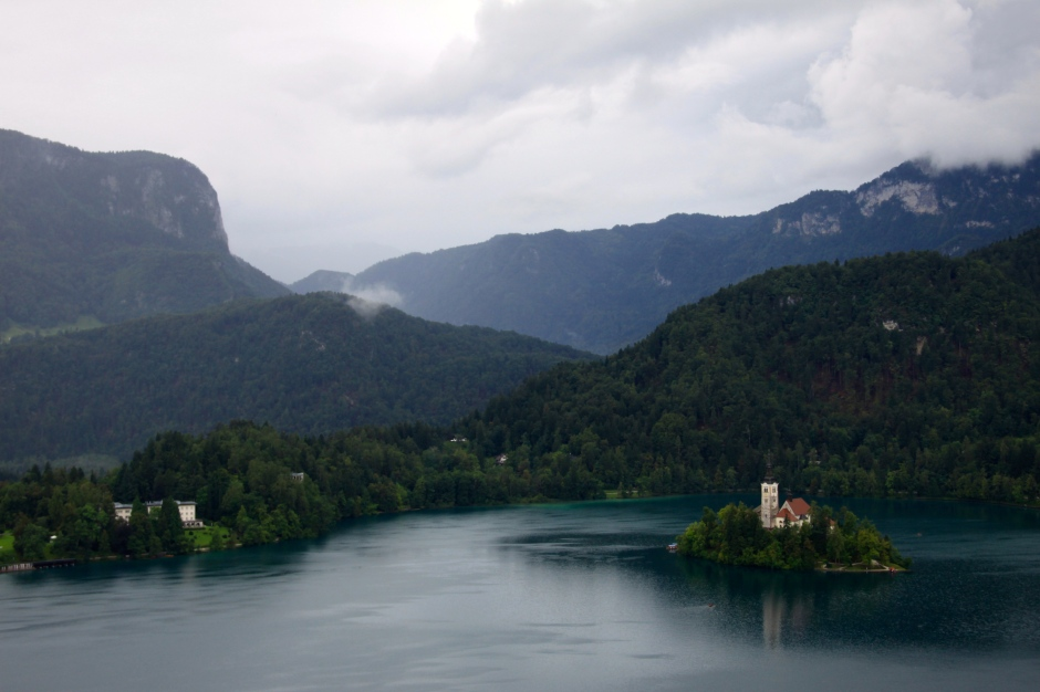 Lake Bled, Bled Island and surrounding mountains