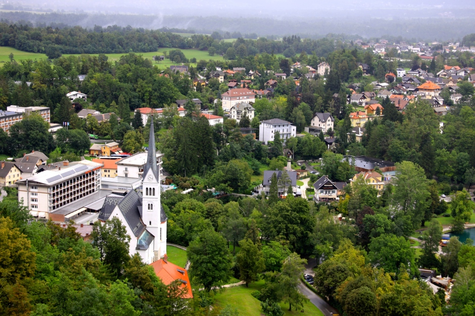 The town of Bled, viewed from the castle