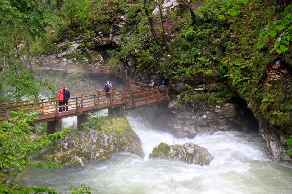 A walkway/bridge crosses the gorge