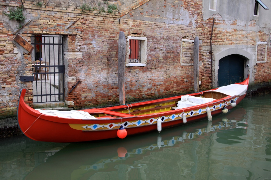 Colourful long boat