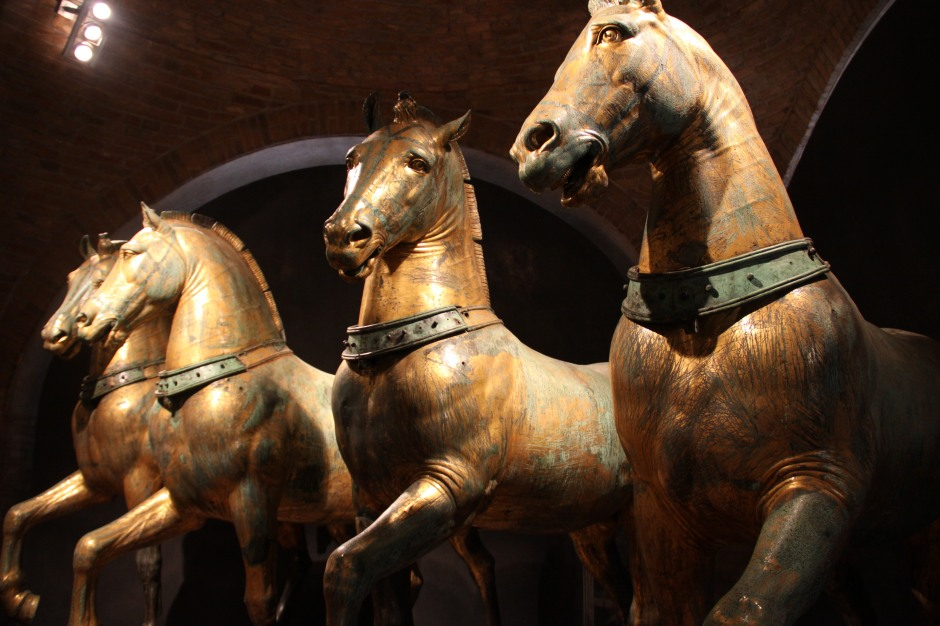 Four life-size horses that were plundered from Constantinople in 1204 by Christian crusaders
