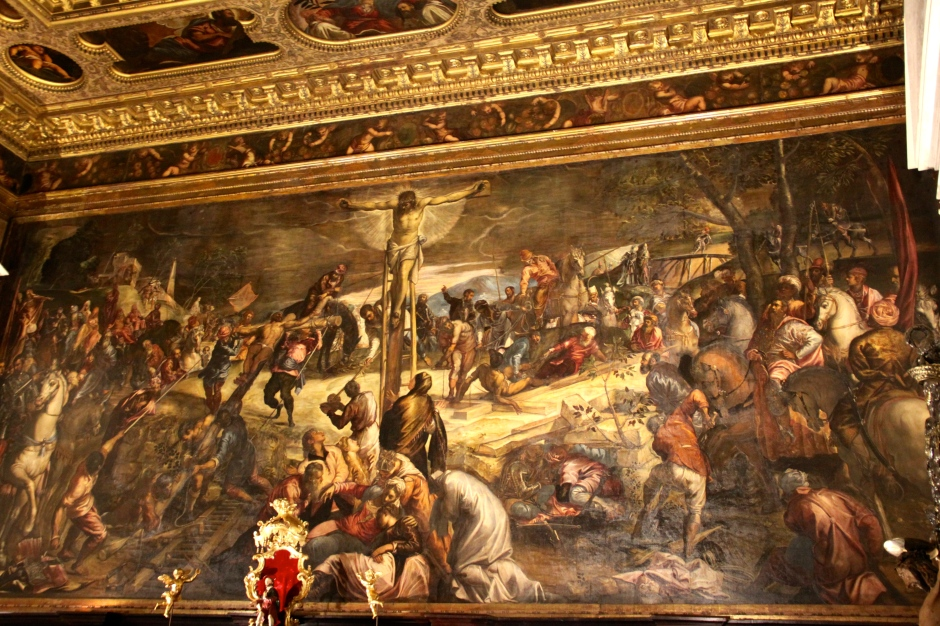 A huge painting (Passion of the Christ??) that fills the width of one room