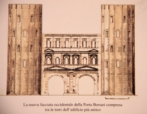 A diagram of how the gate would have originally looked with circular towers on each side. It was part of the city wall and was the main entrance to the city.