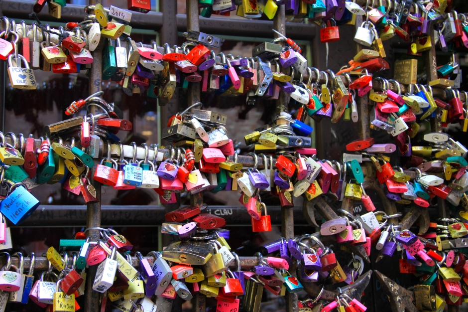 Colourful love locks