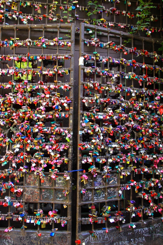 Metal gates covered with 'love locks'
