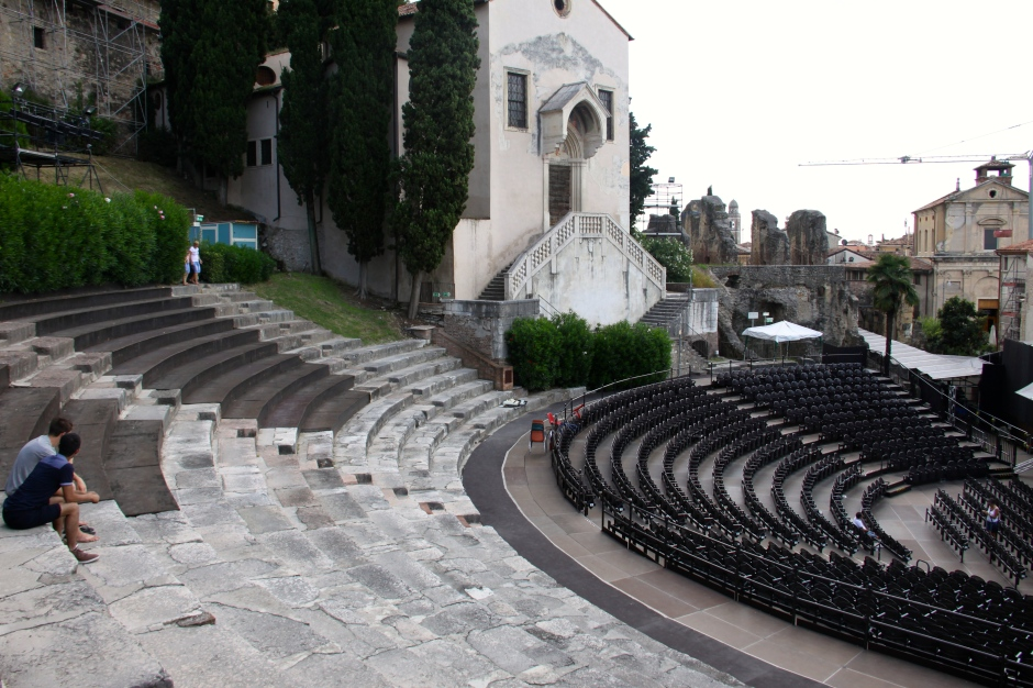 Parts of the original lower amphitheatre seating remain
