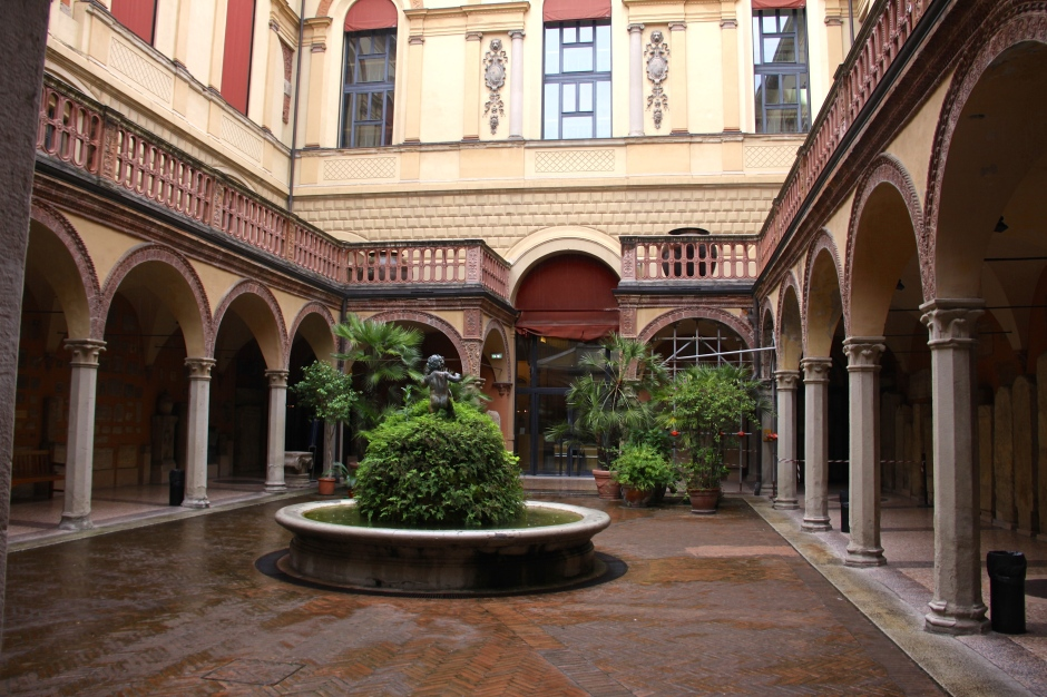 The courtyard and fish-pond of the historical building that houses the museum
