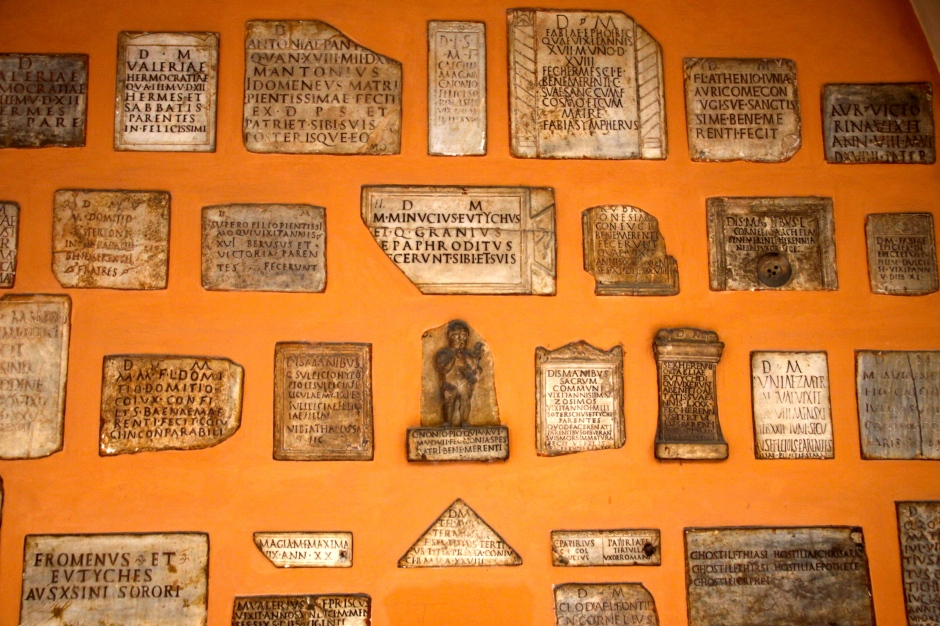Part of a collection of Roman burial monuments and milestones