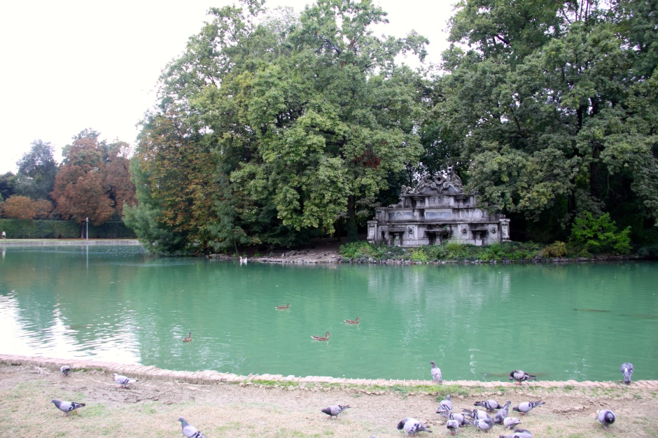 The fish pond in Ducale Park with the Trianon Fountain (built in 1719) on the island.