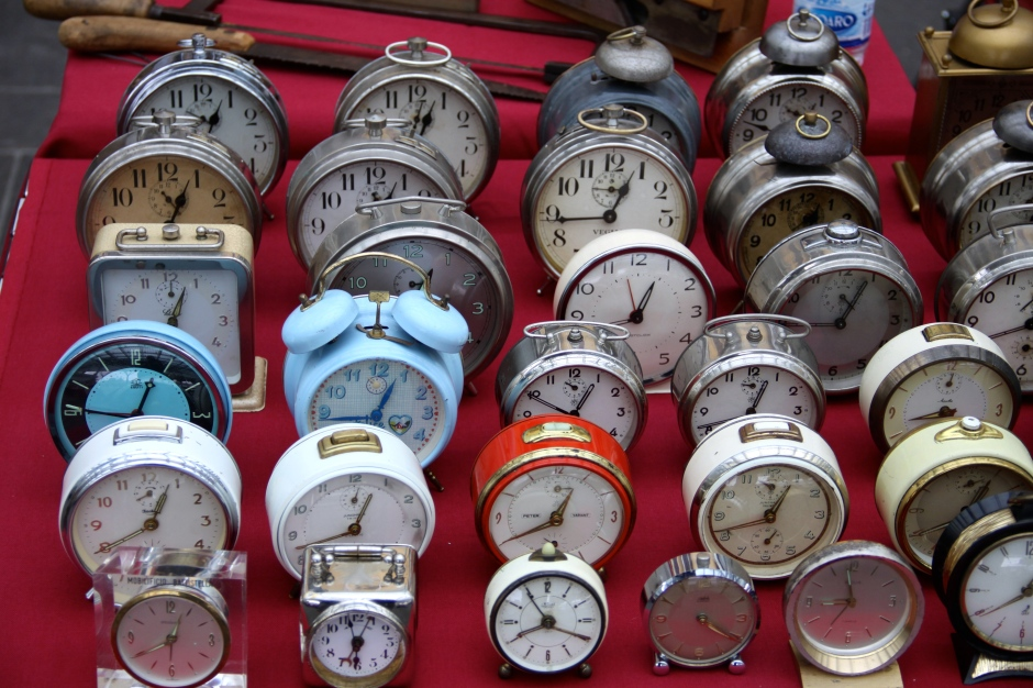Still ticking - old alarm clocks at the flea market