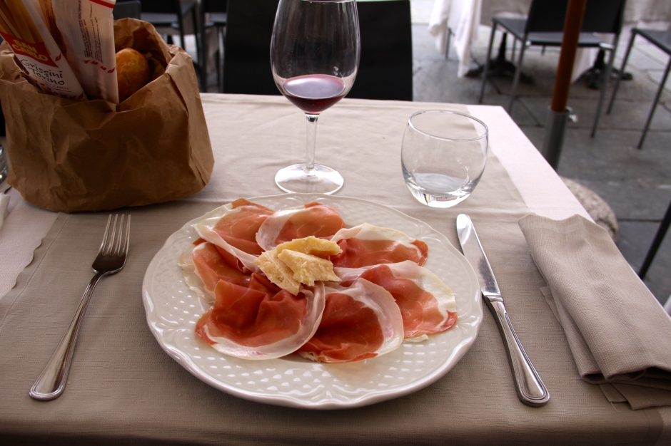 Another plate of Parma ham and Parmesan cheese for lunch.