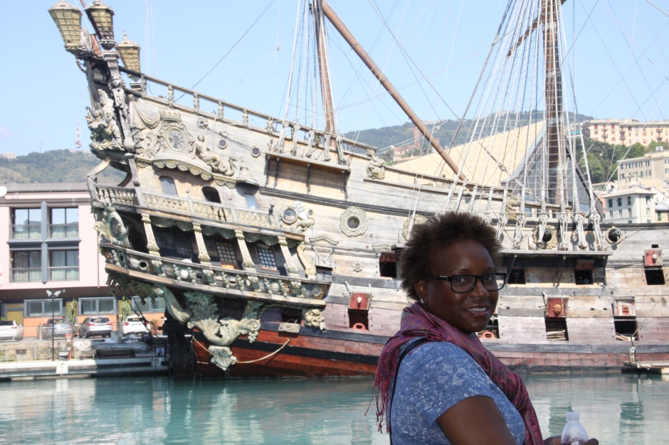 Bev checks out the 'Galleon Neptune' a prop from the 1986 film 'Pirates' by Roman Polanski