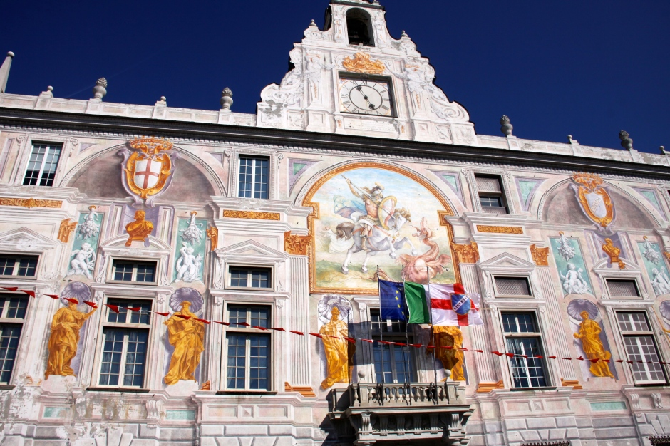 A painted building near to the old port in Genoa