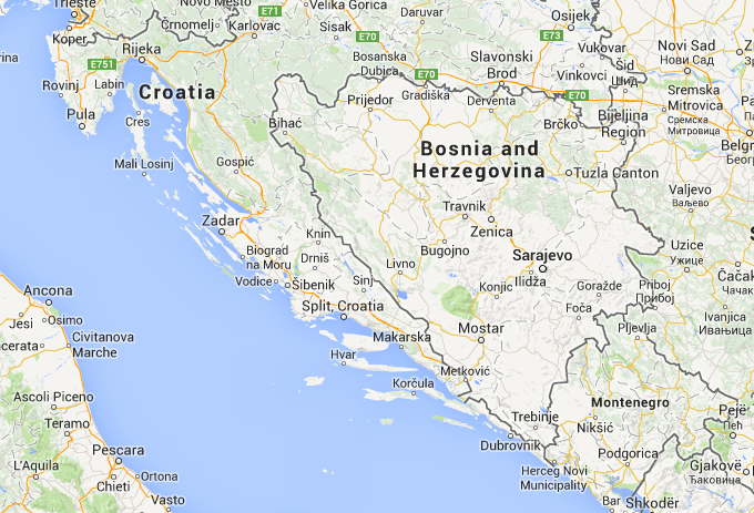 Map showing Montenegro, Croatia and Bosnia & Herzegovina