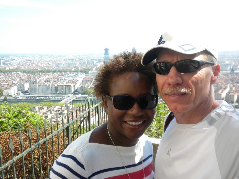 A double selfie overlooking Lyon from the Basilica