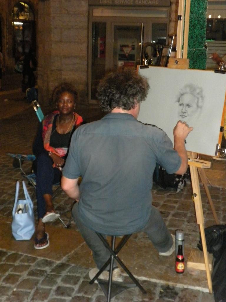 Bev sits for the street artist