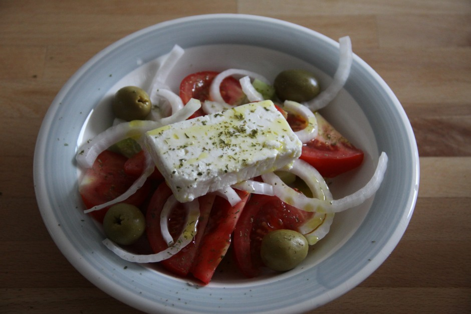 My first attempt at recreating an authentic Greek salad