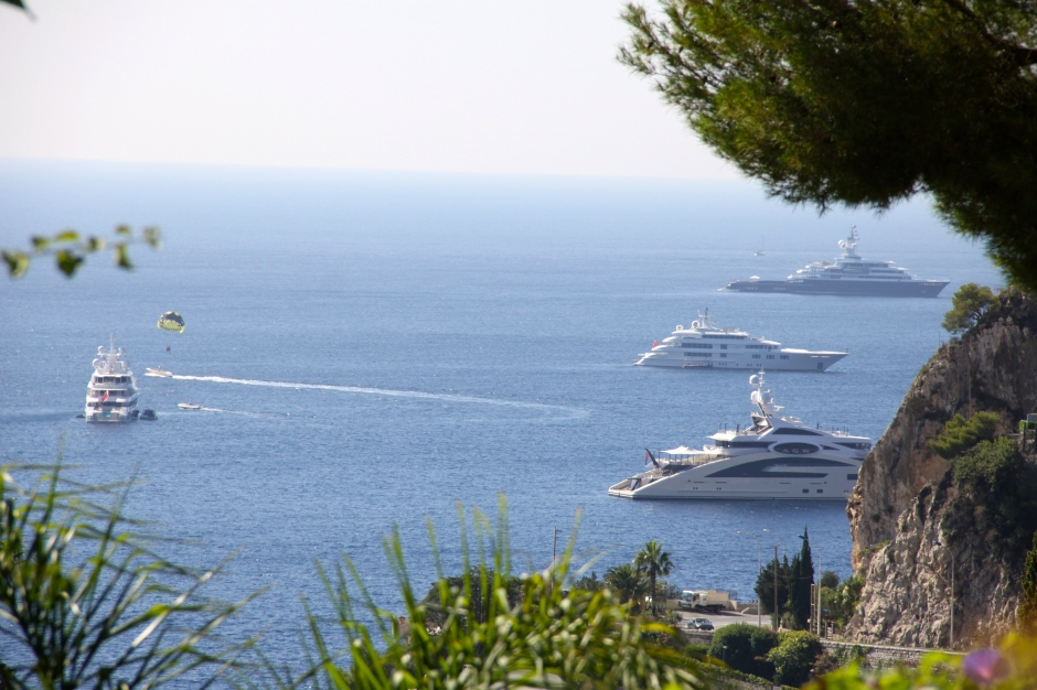 Some of the super yachts in the bay, viewed from our terrace