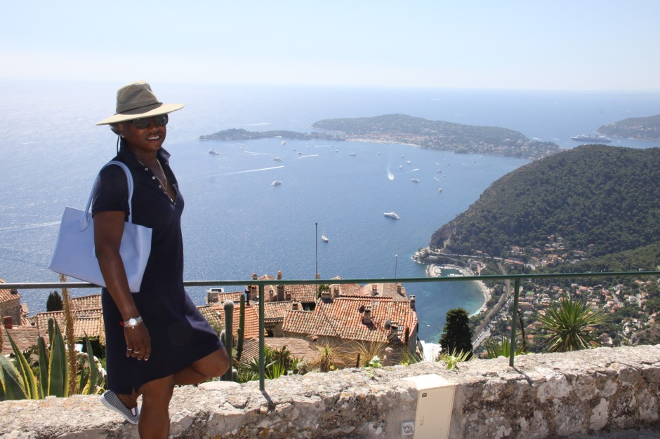 Bev overlooks the bay with Eze Bord de Mer in the lower right corner