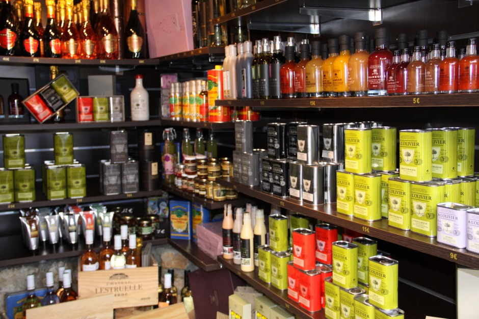 Some of the oils, vinegars and wines available in the shop